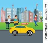 online transport taxi vector...   Shutterstock .eps vector #1688428795