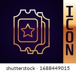 gold line cinema ticket icon... | Shutterstock .eps vector #1688449015