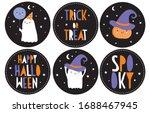 happy halloween vector stickers.... | Shutterstock .eps vector #1688467945
