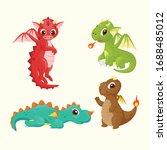 cartoon dragon vector cute... | Shutterstock .eps vector #1688485012