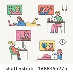 students are watching the...   Shutterstock .eps vector #1688495275