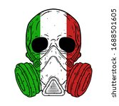 skull in a protective mask with ... | Shutterstock .eps vector #1688501605