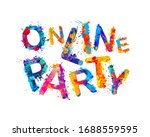 online party. words of colorful ... | Shutterstock .eps vector #1688559595
