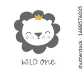 wild one lion with crown kids... | Shutterstock .eps vector #1688576035