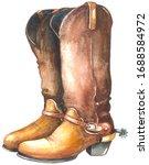 Watercolor Cowboy Boots. ...
