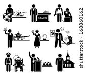 Special Jobs Occupations Careers - Swimming Lifeguard, Casino Dealer, Tattoo Artist, Air Steward, Fortune Teller, Debt Collector, Politician, Prison Warden, Priest - Stick Figure Pictogram