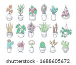 collection of hand drawn... | Shutterstock .eps vector #1688605672