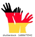 colored raising hands as... | Shutterstock .eps vector #1688675542