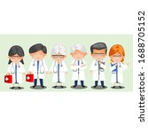 flat male and female doctors... | Shutterstock . vector #1688705152