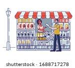 concept of newsstand. woman... | Shutterstock .eps vector #1688717278