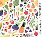 seamless vegan pattern with... | Shutterstock .eps vector #1688718418