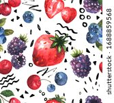 berries seamless pattern in... | Shutterstock . vector #1688859568