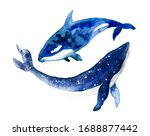 Cute Watercolor Whales With...