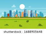 cartoon city landscape on... | Shutterstock .eps vector #1688905648