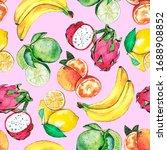 exotic summer fruits watercolor ... | Shutterstock . vector #1688908852