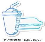 soft drink icon in sticker...