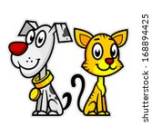 Stock vector smiling dog and cat 168894425