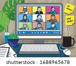teleconference for work from... | Shutterstock .eps vector #1688965678