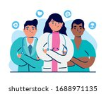 group of doctors staff with... | Shutterstock .eps vector #1688971135