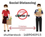 social distancing. man and...   Shutterstock .eps vector #1689040915