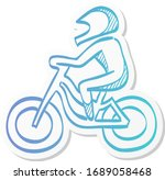 cycling icon in sticker color...
