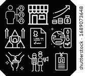 set of 9 employee outline icons ... | Shutterstock . vector #1689073648
