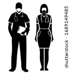 doctor man and woman in medical ... | Shutterstock .eps vector #1689149485