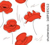 poppies continuous line drawing....   Shutterstock .eps vector #1689185212