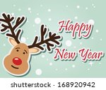 reindeer happy new year  vector ... | Shutterstock .eps vector #168920942