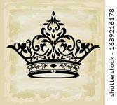 rococo texture pattern vector.... | Shutterstock .eps vector #1689216178