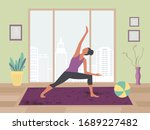 women exercising yoga at home... | Shutterstock .eps vector #1689227482