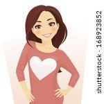 girl in sweater with heart shape | Shutterstock .eps vector #168923852