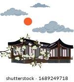 japanese pagoda  in the garden. ... | Shutterstock .eps vector #1689249718