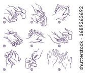 hand washing instruction.... | Shutterstock .eps vector #1689263692