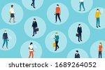 social distancing and... | Shutterstock .eps vector #1689264052
