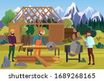 building wooden house on... | Shutterstock .eps vector #1689268165
