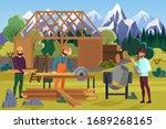 building wooden house on...   Shutterstock .eps vector #1689268165