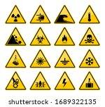 hazard warning sign vector... | Shutterstock .eps vector #1689322135