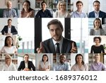 Small photo of Headshot screen application view of smiling multiracial employees talk speak on video call brainstorm together, multiethnic coworkers engaged in team discussion online using Web conference