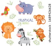 color set cute tropical animals ... | Shutterstock .eps vector #1689426628