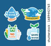 ecological stickers. collection ... | Shutterstock .eps vector #1689442765