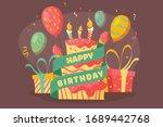 illustration of birthday cake... | Shutterstock .eps vector #1689442768