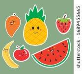 fruit sticker set collection... | Shutterstock .eps vector #1689455665