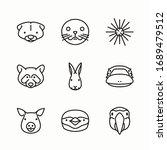 simple set fauna vector line... | Shutterstock .eps vector #1689479512