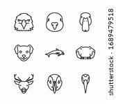 simple set fauna vector line... | Shutterstock .eps vector #1689479518