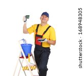 worker on ladder with cup of... | Shutterstock . vector #168948305