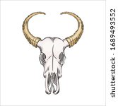 drawn skull of a bison with... | Shutterstock .eps vector #1689493552