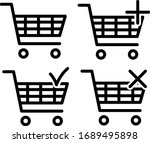 shopping cart   black and white | Shutterstock .eps vector #1689495898