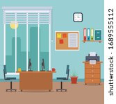 office interior in flat style.... | Shutterstock .eps vector #1689555112