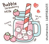 bubble strawberry milk hand...   Shutterstock .eps vector #1689582655